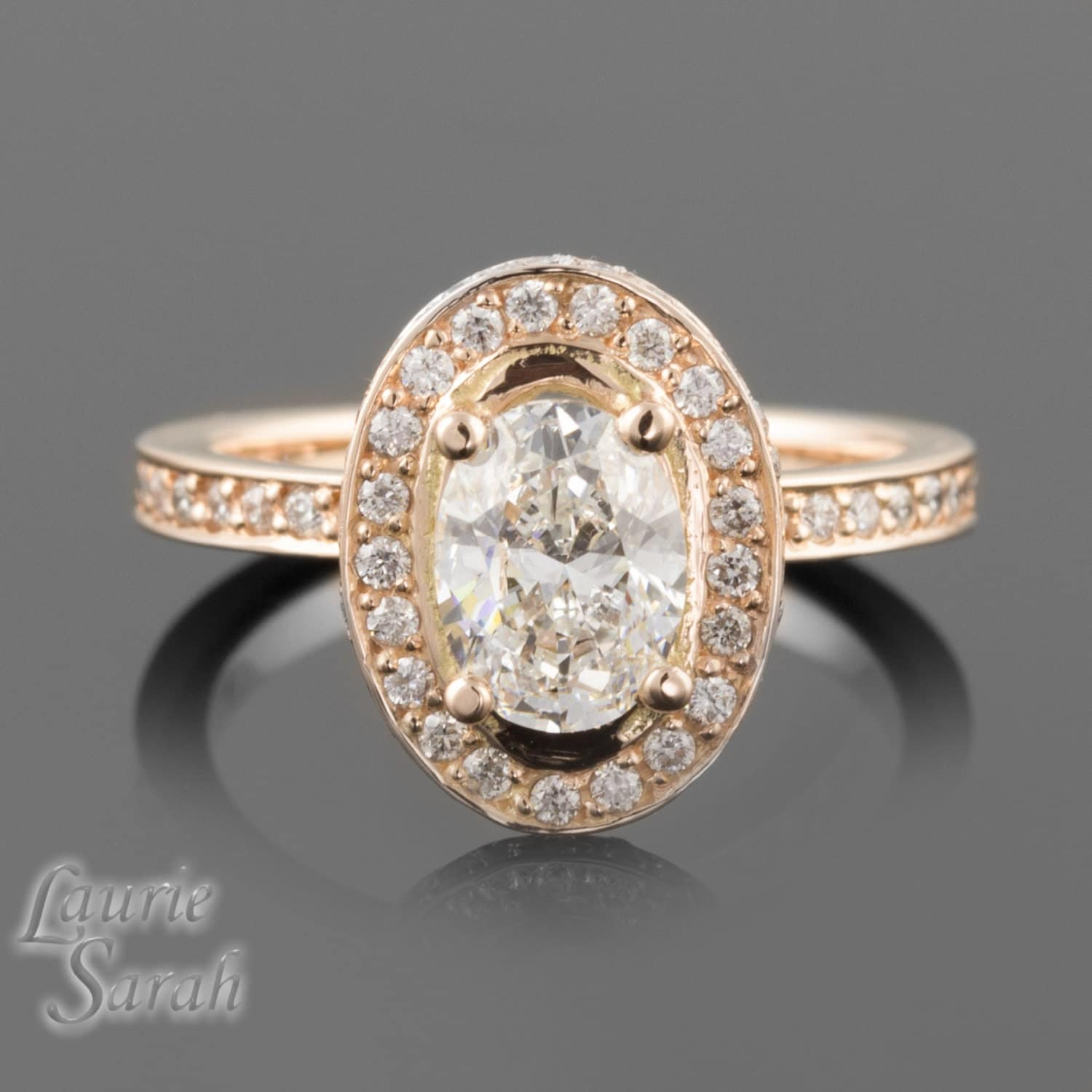 Engagement Ring 14kt Rose Gold Oval Diamond Engagement Ring
