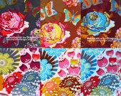 Anna Maria Horner Loulouthi Fabric - 6 Fat Eighth Bundle - Summer Totem in Grapefruit, Streudal, Tart
