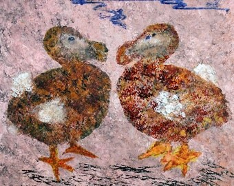 Bird Art, Dodo Art, Extinct Dodo art, Lost Cave Paintings of Saint Paul, original art
