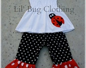 Ladybug Girls Summer Outfit, Lady Bug Smocked Top & Capri Pants Outfit, Ladybug Birthday Party Outfit, Boutique Girl Clothes