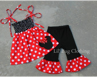 Custom Boutique Clothing Red and White Minnie Mouse Smocked Top and Capris