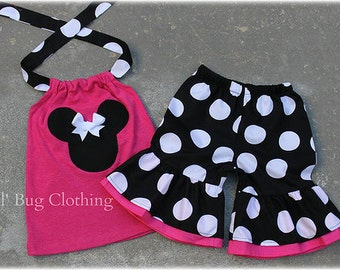 Custom Boutique Clothing Black White Pink Jumbo Dot Minnie Mouse Short Halter Set