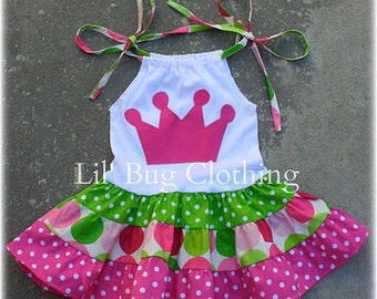 Custom Boutique Tiered Sorbet Disco Dot Crown Princess Dress Birthday Girl