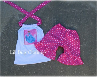 Custom Boutique Disney  Pink Dots Cinderella or (Any Princess of Your Choice) Short and Halter 12 18 24 2 3 4 5 6 7