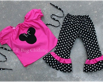 Custom Boutique Polka Dot  Minnie Mouse peasant Capri et size 12 18 24 2t 3t 4t 5t 6 7 girl
