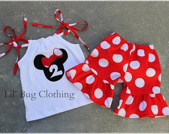 Custom Boutique Clothing Red White Jumbo Dot Minnie Mouse Short And Top Personalized Set