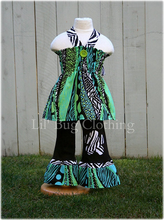 Zebra Blue Lime  Summer Girls Pageant Wear Outfit, Girls Animal Print Smocked Top and Pant Set, Boutique GIrl Clothes