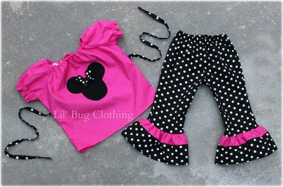 Custom Boutique Polka Dot  Minnie Mouse peasant Capri et size 12 18 24 2t 3t 4t 5t 6 7 girl