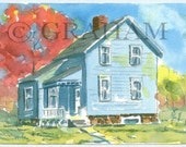 Country House, Original Watercolor Painting, 4x6 inches, This is an Original painting and Not a Print