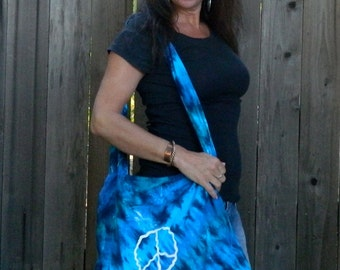 I Love Blue Tie-dyed Peace Bag