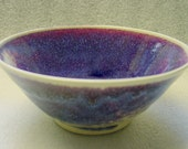 Purple, Burgundy and Blue Wheel Thrown Pottery Bowl - PotterybyJolene