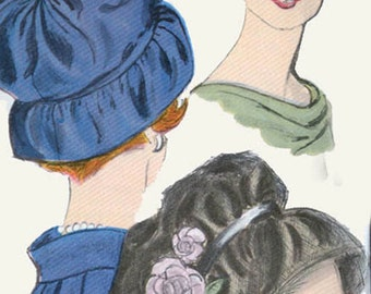 Vintage 1960s Sally Victor Hat Sewing Pattern Vogue 5109 Original 60s Sewing Pattern Head Size 23