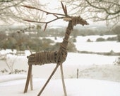 Single willow reindeer decoration or cake topper