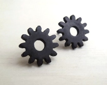 Gear Earrings - Tiny - Black - Sterling Silver - Oxidized - Industrial - Minimalist - Steampunk - Spiked - Gifts Under 35 - Made In Brooklyn