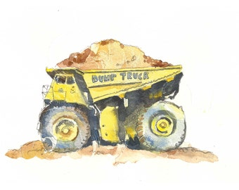 Boys Yellow Dump Truck Wall Art Prints - Set of 3