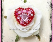 SALE Sweet Tea Red Roses Pink Heart Kawaii Collage Sparkle Heart Ring