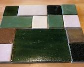 MOSAIC TILES- 13 handmade, handglazed clay tiles, RUSTIC Squares, Green, Tan, Brown