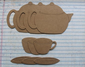 3 Teapot, 3 Tea Cup and 3 saucer bare chipboard Diecuts