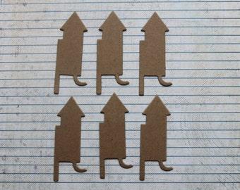 6 Bare Chipboard Rocket Firework Diecuts 3 inches tall