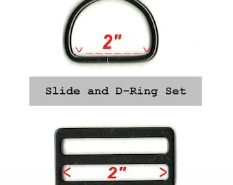 """10 SETS - 2"""" - Wide Mouth METAL Slide and Split D ring - BLACK Finish"""