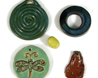 5 Focal Bead Pendants For the price of 1 - SALE - Trimmed in Gold - Handmade Ceramic Clay Stoneware Pottery - Ready to Ship