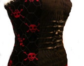 gothic skull bow pvc corset vampire top pirate made to order FREE SHIPPING