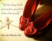 Red Ruby Slippers and Wand, Typography Photo,Art Original Photograph , By Paper-Mâché Dream Photography, Home Wall Décor,fPOE
