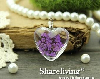 1pcs High Quality Handmade Heart Shape Glass Wire Wrapped Charm / Pendant (Flower) -- HGC601D