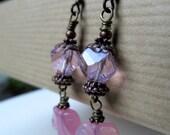 Pink Leaves Vintage Glass Beaded Niobium Earrings