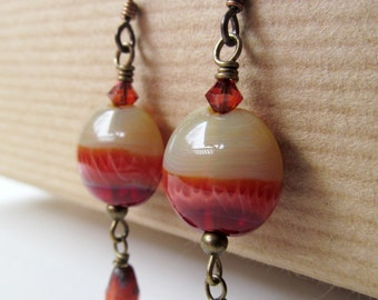 Orange and Red Handcrafted Lampwork Glass and Crystal Beaded Niobium Earrings