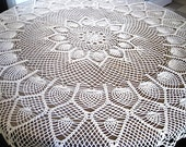 Ecru Colored Round Pineapples Tablecloth Crocheted Handmade  48 inch OOAK