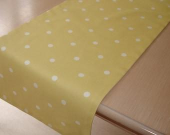 """Yellow and White Table Runner 48"""" Polka Dots 4ft Polkadot Lemon Dot Spot Spotted Spots"""