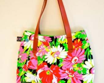 Free Shipping Brazilian Chita  Flowers Black Handmade Bag