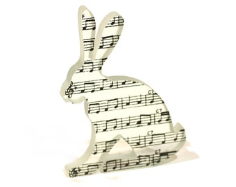 Music Hare Sculpture Printed Glass Musical Score