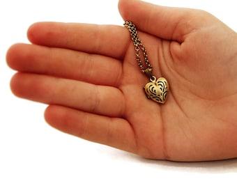 Teeny Tiny Gold Heart Locket - Tiny Heart Locket Necklace - Gift For Her