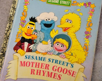 Vintage Children's Book Sesame Street's Mother Goose Rhymes Little Golden Book