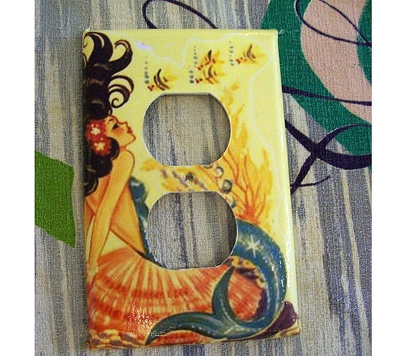 mermaid outlet switch plate retro vintage nautical 1950's pin up rockabilly light switch