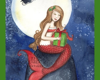 Christmas Eve Mermaid Print from Original Watercolor Painting by Camille Grimshaw
