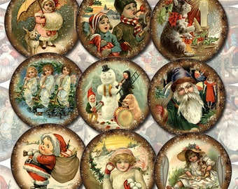 Christmas Days Gone By - Set of 20 Vintage Art 2 inch Circles -Instant Download- Printable collage sheet JPG Digital File