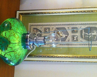 WMF Ikora Table Lamp Art Deco 1930s Heavy Peacock Green colors Glass w/ Illuminated Base and Chromium Parts