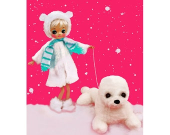 winter doll christmas print aceo size SEAL LATER SUMMERTIME