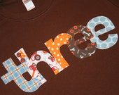 Boys Construction THREE shirt for 3rd Birthday  - Size 4 short sleeve brown tshirt - lettering in brown blue and orange construction