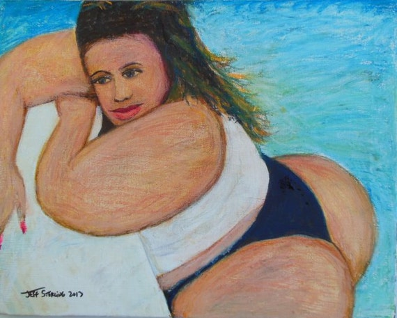 BBW Sexy Thick Dominicana Mami in Pool No Frame by Artististique: www.etsy.com/listing/165398120/bbw-sexy-thick-dominicana-mami-in-pool
