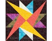 Leysin Star quilt block pattern, paper pieced quilt patterns, instant download PDF patterns, star quilt patterns, star patterns