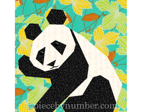Panda quilt block pattern paper pieced by PieceByNumberQuilts