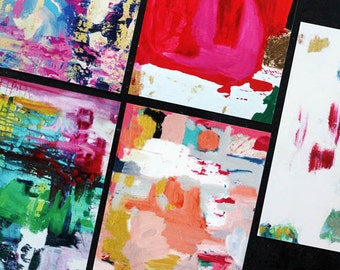 colorful abstract painting note cards - set of five and envelopes