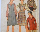 Vintage 1973 Sewing Pattern Simplicity 5913 Misses' Jumper and Blouse Size 14 Bust 36 Inches Complete