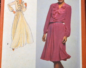 Vintage Sewing Pattern Simplicity 9655 Misses' Ruffled Dress Bust 40 - 42 Uncut Complete