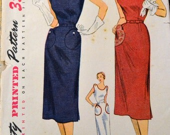 Vintage 1950's Sewing Pattern Simplicity 3608 Slim Dress  Bust  34  Complete
