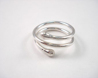 Fine Silver Double Twist Ring, Adjustable Ring, Simple Silver Ring